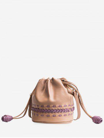 Fancy PU Leather Drawstring Braid Crossbody Bag - KHAKI  Mobile