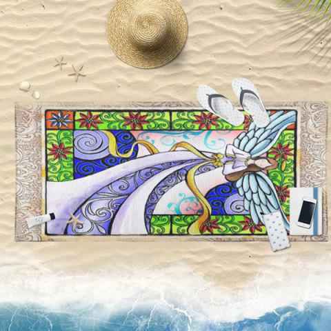 Latest Angel Wings Floral Pattern Bath Towel - 75*150CM COLORFUL Mobile
