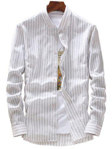Outfits Casual Vertical Stripes Button Down Shirt - 4XL WHITE Mobile
