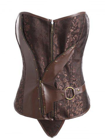 Affordable Plus Size Vintage Jacquard Faux Leather Panel Corset - 4XL COFFEE Mobile