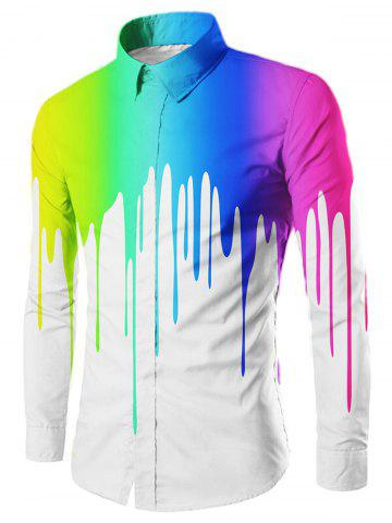 Unique Drip Painted Casual Long Sleeve Shirt WHITE M