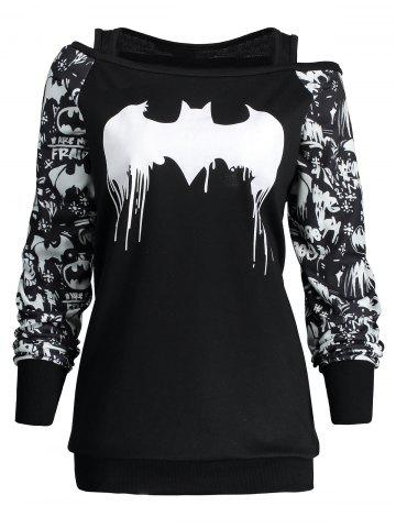 Buy Halloween Plus Size Bat Print Sweatshirt - 5XL BLACK Mobile