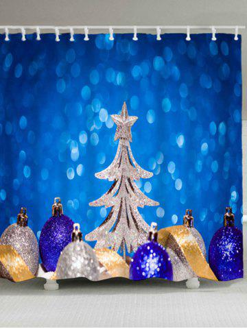 Affordable Christmas Tree Balls Waterproof Shower Curtain BLUE W71 INCH * L79 INCH