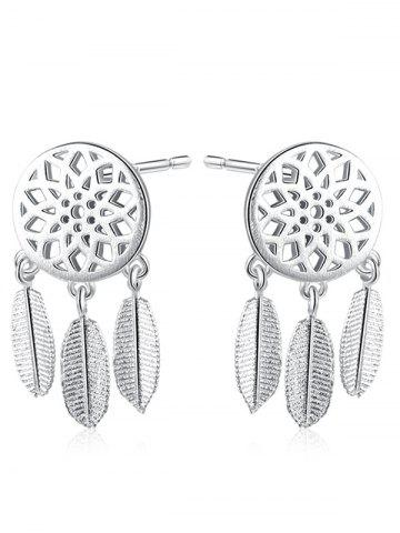 Buy Sterling Silver Dream Catcher Leaf Earrings - SILVER  Mobile
