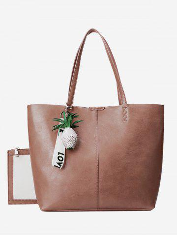 Best Faux Leather Pineapple Pendant Tote Bag Set