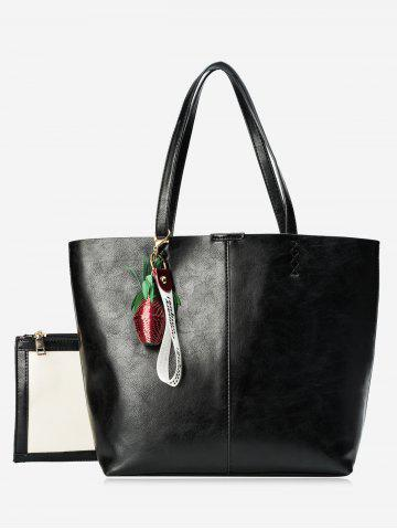 New Faux Leather Pineapple Pendant Tote Bag Set - BLACK  Mobile