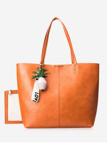 Trendy Faux Leather Pineapple Pendant Tote Bag Set