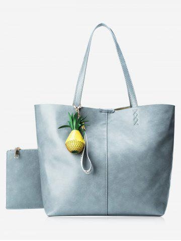 Hot Faux Leather Pineapple Pendant Tote Bag Set BLUE