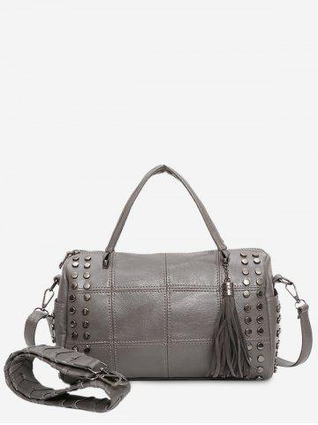 Shop Quilted Tassel Stud Tote Bag GRAY
