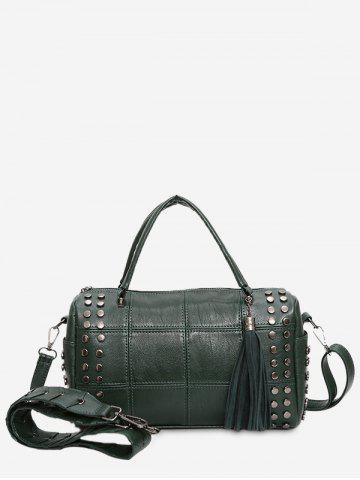 Hot Quilted Tassel Stud Tote Bag GREEN