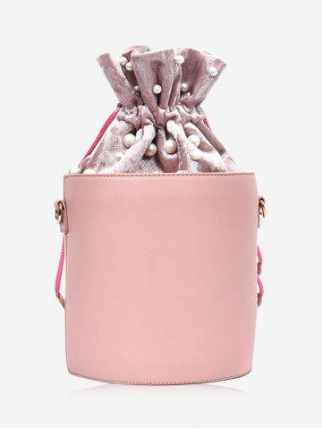 Best PU Leather Drawstring Faux Pearl Bucket Bag - PINK  Mobile