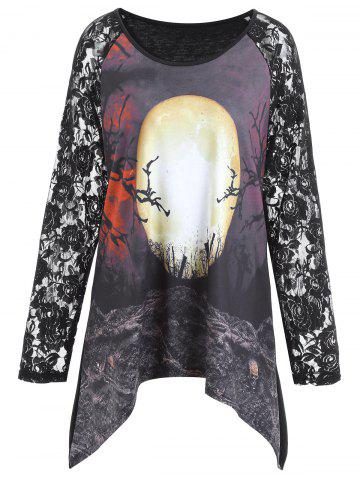 New Plus Size Lace Panel Asymmetrical Halloween Moon T-shirt BLACK XL