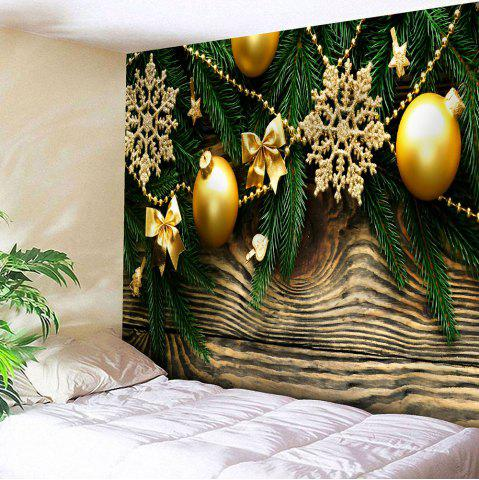 Store Waterproof Christmas Baubles Wood Pattern Wall Art Tapestry - W59 INCH * L51 INCH COLORFUL Mobile