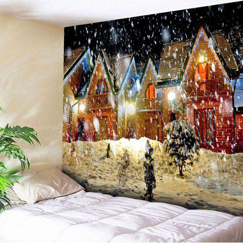 Store Waterproof Christmas Snowy Evening Pattern Wall Hanging Tapestry - W59 INCH * L51 INCH COLORFUL Mobile