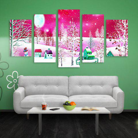Sale Christmas Snow Print Canvas Wall Art Paintings PINK 1PC:16*39,2PCS:16*24,2PCS:16*31 INCH( NO FRAME )