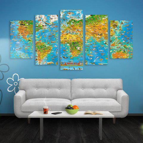 New World Map Print Wall Art Split Canvas Paintings
