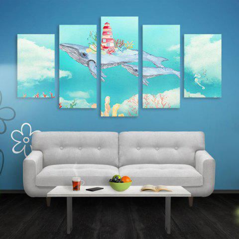 Outfits Wall Art Flying Fish Print Split Canvas Paintings AZURE BLUE 1PC:16*39,2PCS:16*24,2PCS:16*31 INCH( NO FRAME )