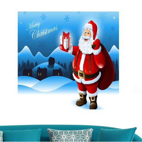 Shop Removable Santa Claus Patterned Waterproof Wall Art Painting BLUE 1PC:24*35 INCH( NO FRAME )