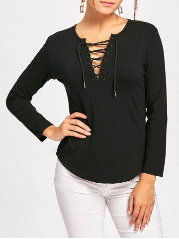 Buy Long Sleeve Lace Up Tee - L BLACK Mobile