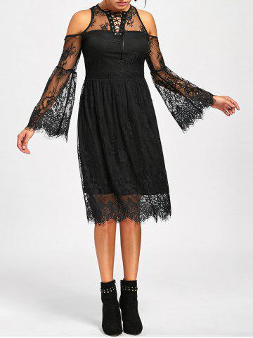 Shops Halloween Cold Shoulder Lace Up Dress - XL BLACK Mobile