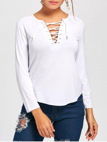 Cheap Long Sleeve Lace Up Tee WHITE L