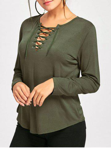 Latest Long Sleeve Lace Up Tee - XL ARMY GREEN Mobile