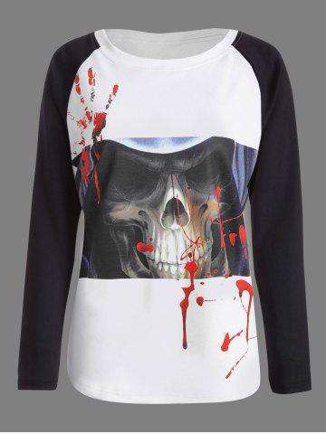 Best Halloween Skull Bloody Palm Printed T-shirt WHITE AND BLACK L