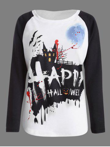 Discount Pumpkin Happy Halloween Print Raglan Sleeve T-shirt - M WHITE AND BLACK Mobile