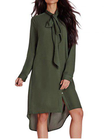 Best Bow Tie Neck High Low Dress - S ARMY GREEN Mobile