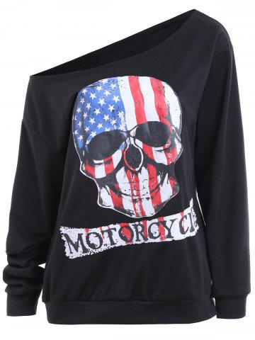 Hot Plus Size Halloween Skull Print Patriotic American Flag Sweatshirt - XL BLACK Mobile