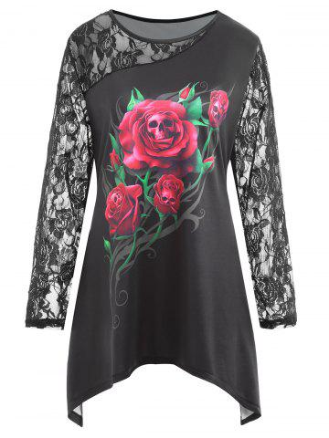 Shop Plus Size Halloween Rose Skull Print Lace Panel Tee - XL BLACK Mobile