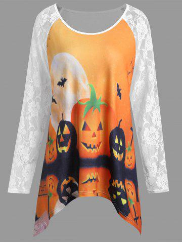 Affordable Plus Size Lace Panel Halloween Pumpkin Asymmetrical T-shirt