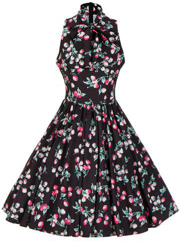 Trendy Bow Tie Neck Cherry Print Swing Skater Dress BLACK S