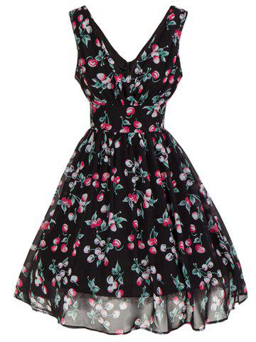 Store Cherry Print Plunging Neckline Backless Low Cut Skater Dress