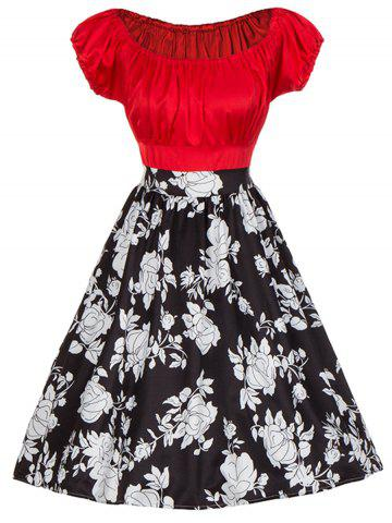 Buy Vintage Colorblock Floral Print Pinup Dress - M RED Mobile