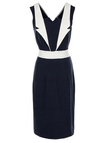 Sale Color Block Vintage Bodycon Dress - 2XL PURPLISH BLUE Mobile