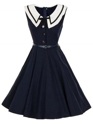 Trendy Vintage Sailor Collar Button Pin Up Dress - 2XL PURPLISH BLUE Mobile