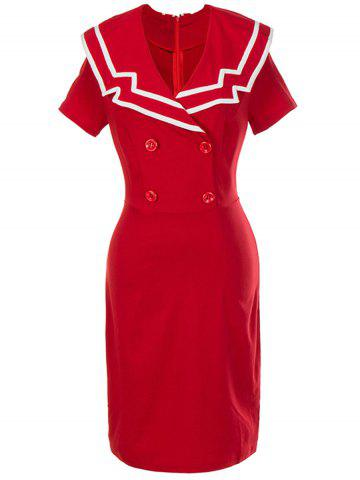 Affordable Retro Double Breasted Bodycon Dress - 2XL RED Mobile