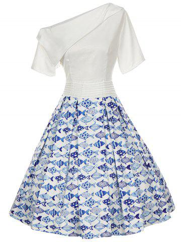 New Vintage Skew Neck Fish Print Pinup Dress - S WHITE Mobile