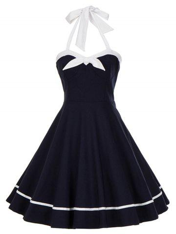Chic Vintage Backless Bowknot Halter Swing Dress - M PURPLISH BLUE Mobile