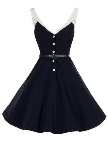 Fashion Vintage V Neck Buttoned Backless Skater Pin Up Dress PURPLISH BLUE S