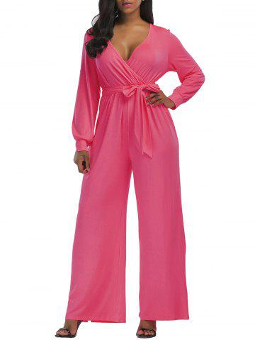 Fancy Wide Leg Surplice Belted Jumpsuit PINK XL