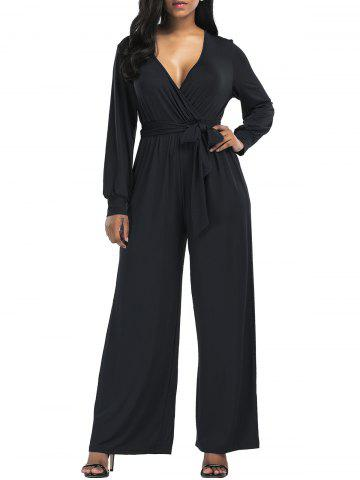 New Wide Leg Surplice Belted Jumpsuit - XL BLACK Mobile