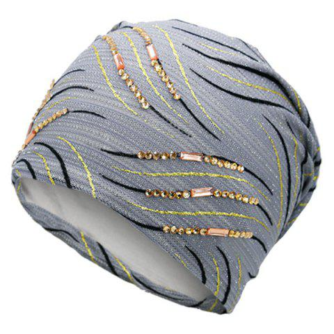 Cheap Wave Stripe Pattern Rhinestone Embellished Beanie - GRAY  Mobile