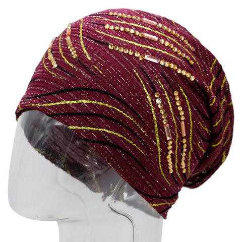 Wave Stripe Pattern Rhinestone Embellished Beanie Rouge vineux