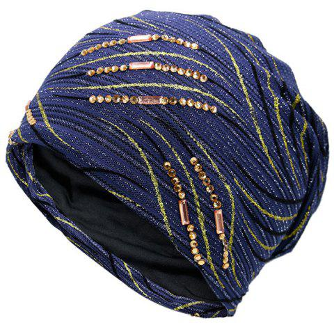 Chic Wave Stripe Pattern Rhinestone Embellished Beanie - DEEP BLUE  Mobile
