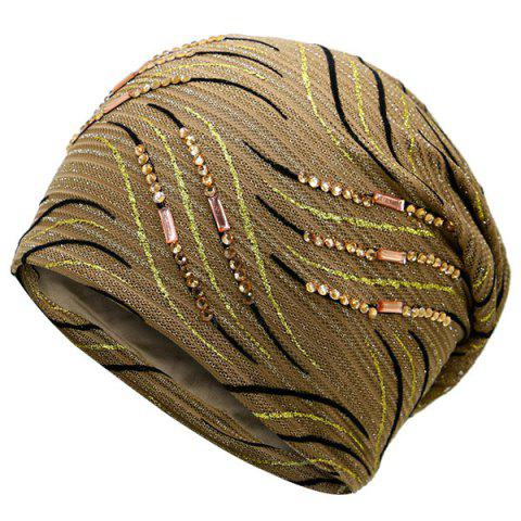 Latest Wave Stripe Pattern Rhinestone Embellished Beanie