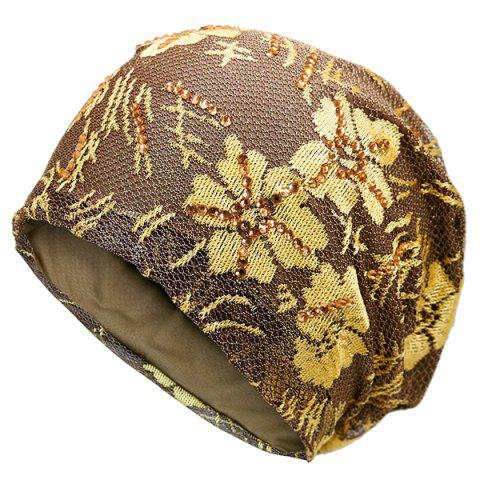 Discount Floral Embroidery Pattern Lace Sequins Decorated Beanie GOLDEN