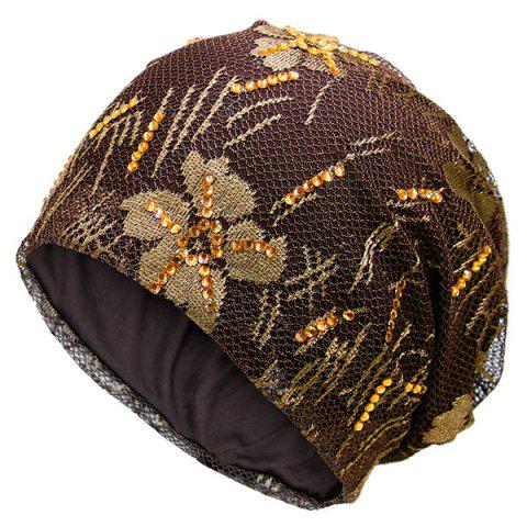 Trendy Floral Embroidery Pattern Lace Sequins Decorated Beanie - COFFEE  Mobile