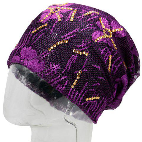 Chic Floral Embroidery Pattern Lace Sequins Decorated Beanie